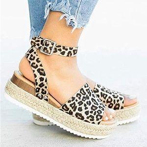 Shoes - NEW Never Worn! Leopard Print Platform Espadrilles